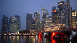 Esplanade and skyline in evening,Singapore Footage