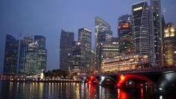 Esplanade and skyline in evening,Singapore Footage
