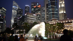 Merlion and skyscrapers in the Evening,Singapore Footage