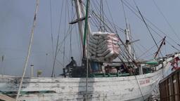 Ships being loaded at Sunda kelapa,Jakarta,Indonesia Footage