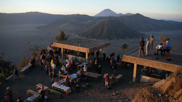 Tourists waiting sunrise,Bromo,Indonesia Footage