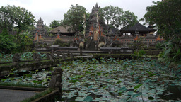 Balinese temple with lake,Ubud,Indonesia Footage