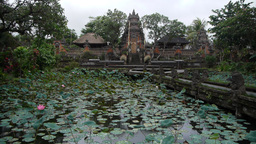 Balinese temple with lake,Ubud,Indonesia Footage