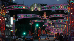Street in Little India at Diwali,Singapore Footage