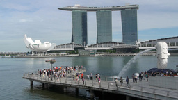 Marina bay and Merlion,Singapore Footage