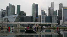 Marina Bay Reflection At Art Science Museum,Singapore stock footage
