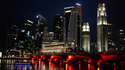 Esplanade skyline and boat in evening,Singapore Footage