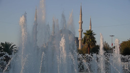 Fountains and the Aya Sofya Mosque,Istanbul,Turkey Footage