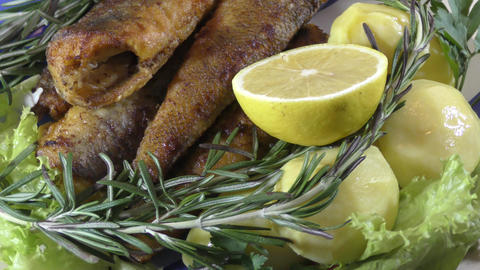 Fried fish with fresh herbs Live Action