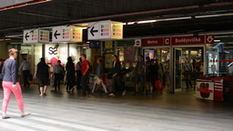 entrance to the subway (metro) - commuter people - people entering and leaving s Footage