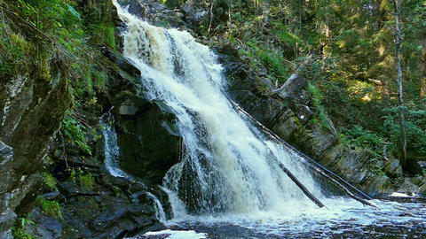 Yukankoski waterfall in Karelia, slow motion Footage
