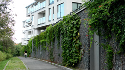 modern building - balcony - windows - sky - fence with nature - asphalt road and Footage