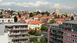 panorama of the city (buildings) - modern block of flats - cloudy sky Footage