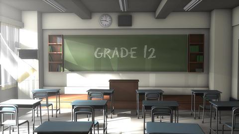 Empty Grade 12 school classroom Animation