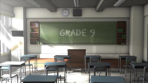 Empty Grade 9 school classroom Animation