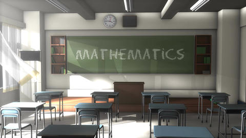 Empty Mathematics school classroom Animation