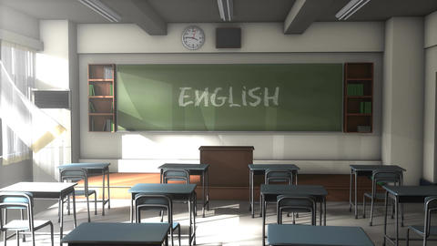 Empty English school classroom Animation