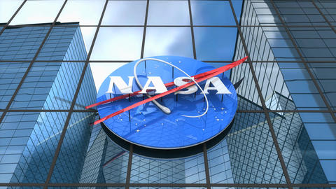 Editorial, NASA logo on glass building Animation