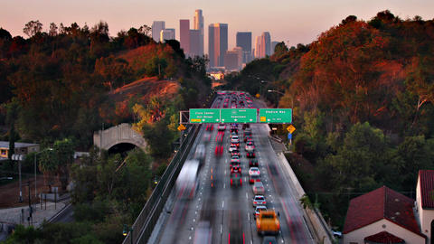 Timne Lapse Traffic Freeway Los Angeles Live Action