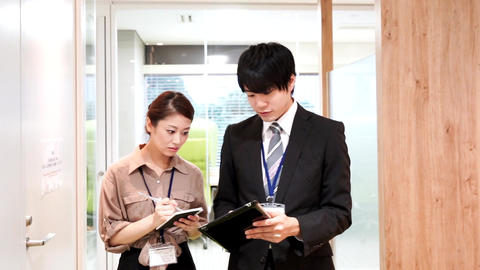 Business image (walking · meeting · male · female) GIF