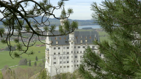 Neuschwanstein Castle through the trees Footage