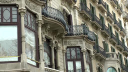Spain Barcelona 051 Spanish oriels and balconies in Passeig de Gràcia Footage