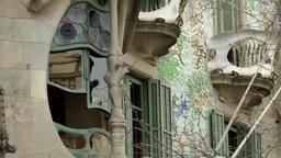 Spain Barcelona 054 Casa Batlló from Antoni Gaudi in Passeig de Gràcia Footage