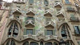 Spain Barcelona 055 Passeig de Gràcia Casa Batlló from architect Antoni Gaudi Footage