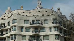 Spain Barcelona 058 Passeig de Gràcia Casa Milà from architect Antoni Gaudi Footage