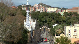 Spain Barcelona 080 Park Güell with Antoni Gaudi house from far Footage