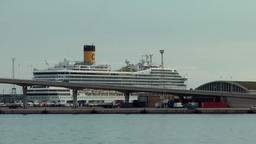Spain Barcelona 083 cruise ship berthed near the city Footage