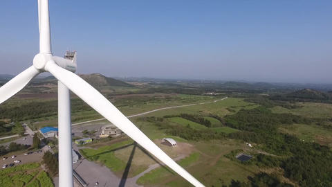 Drone a dazzling film(wind power generator) Footage