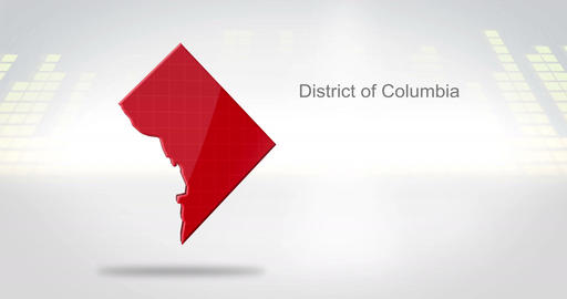 Motion Graphics 3D animation of the american state of District of Columbia Animation