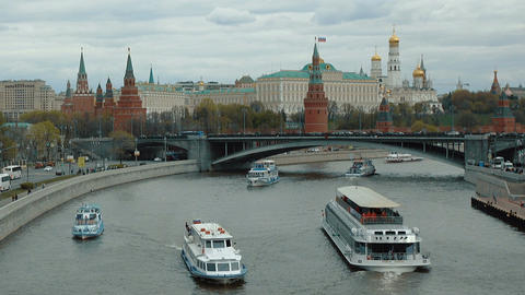 Moscow Kremlin and ships on river Footage