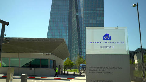 Entrance to European Central Bank in Frankfurt Germany Tilt Up Footage