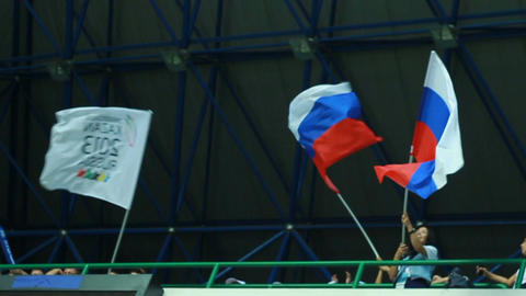 Fans Wave Russian Flags and Kazan Universiade Flag Footage