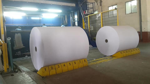 Paper Reels lying in a manufactring plant Footage