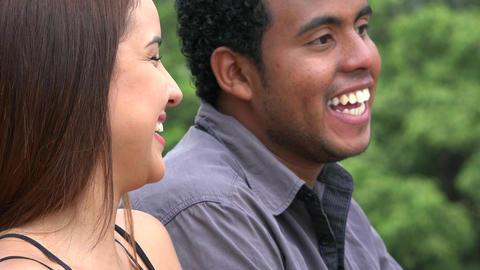 Woman Laughing At Man Telling Joke Footage