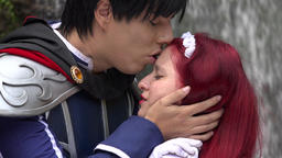 Cosplay Prince Kisses Maiden Stock Video Footage