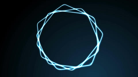 Glowing blue neon hexagons video animation Animation