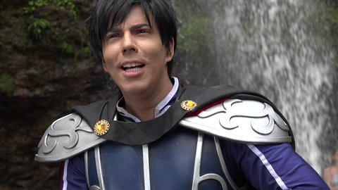 Young Man Wearing Prince Cosplay Costume Footage