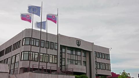 The Slovakian parliament palace in Bratislava Footage