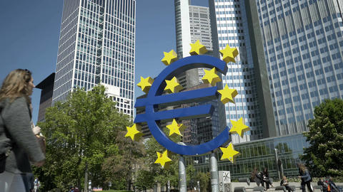 Currency Sign Euro Statue in the Willy Brandt Platz of Frankfurt Germany Live Action