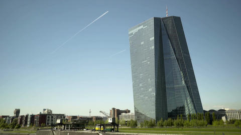 European Central Bank Tower in Frankfurt Germany Pan Footage