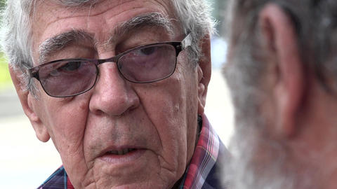 Listening Man Elderly Glasses Talking Live Action