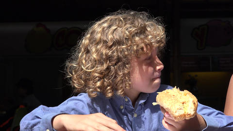 Boy Eating Hot Dog Lunch Footage