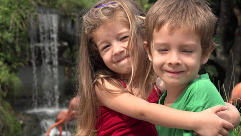 Adorable Toddler Siblings Hugging Footage