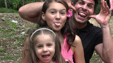 Divorced Father And Daughters Acting Silly Footage