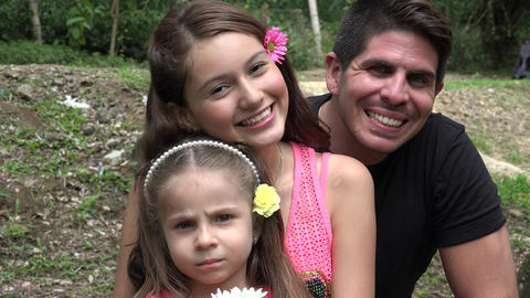 Happy Divorced Father And Daughters Footage