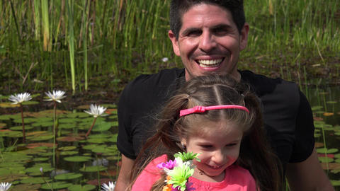Divorced Father And Daughter At Pond Footage